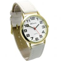 Ravel Super-Clear Easy Read Unisex Quartz Watch White Band R0105.34.1A